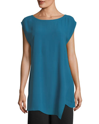 Bateau-Neck Silk Georgette Crepe Tunic