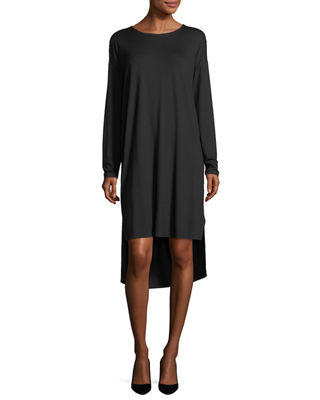 Eileen Fisher Long-Sleeve Lightweight Viscose Jersey Shift Dress,