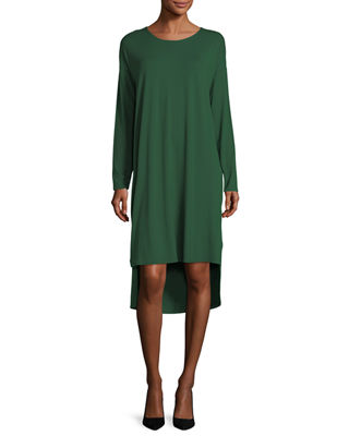 Long-Sleeve Lightweight Viscose Jersey Shift Dress, Petite