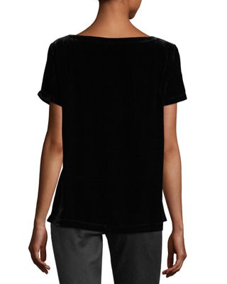 Image 2 of 2: Short-Sleeve Bateau-Neck Velvet Top