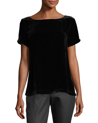 Image 1 of 2: Short-Sleeve Bateau-Neck Velvet Top