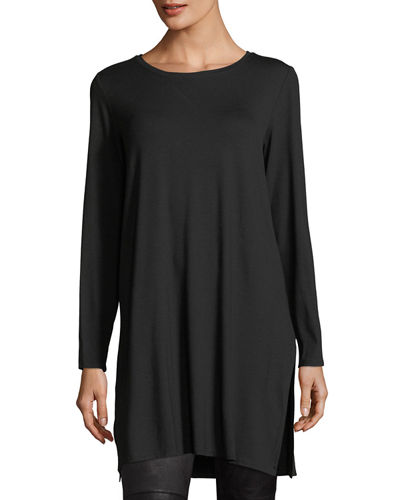 Eileen Fisher Long-Sleeve Lightweight Viscose Jersey Tunic