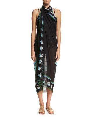 Image 3 of 5: Iconic Prints Flora Cotton Sarong, One Size