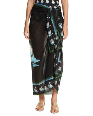 Image 1 of 5: Iconic Prints Flora Cotton Sarong, One Size