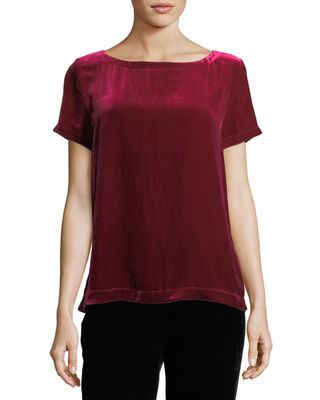 Short-Sleeve Bateau-Neck Velvet Top, Plus Size
