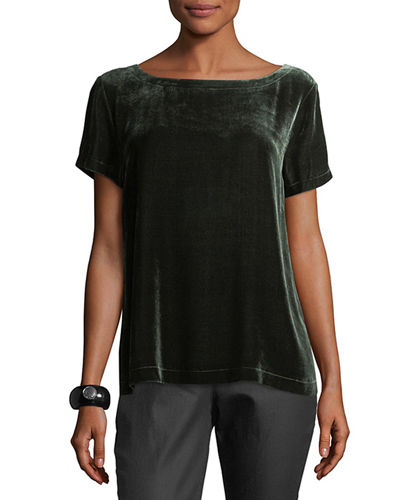 Eileen Fisher Short-Sleeve Bateau-Neck Velvet Top, Plus Size