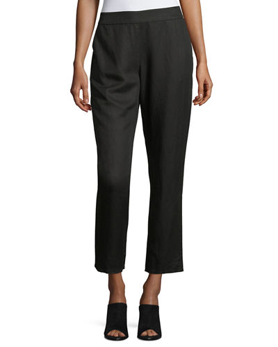 Eileen Fisher Tapered Linen Ankle Pants and Matching