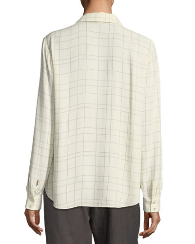 Long-Sleeve Plaid Twill Crepe Top