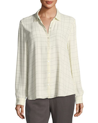 Eileen Fisher Long-Sleeve Plaid Twill Crepe Top