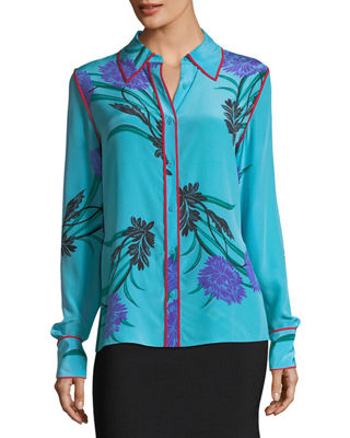 Long-Sleeve Collared Silk Shirt