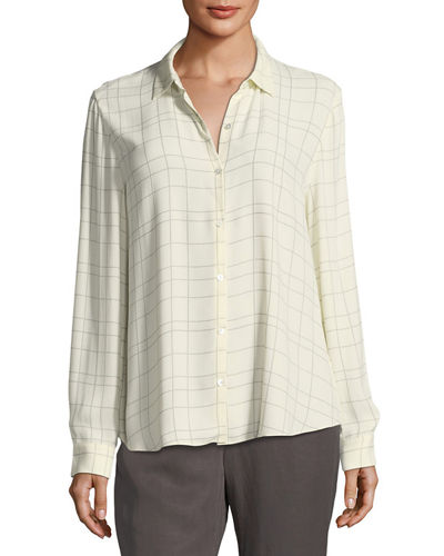Long-Sleeve Plaid Twill Crepe Top, Plus Size