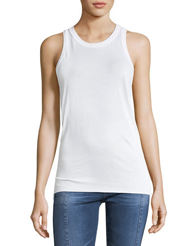 AG Lexi High-Neck Cotton Tank Top