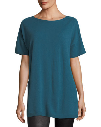 Eileen Fisher Short Sleeve Seamless Italian Cashmere Tunic