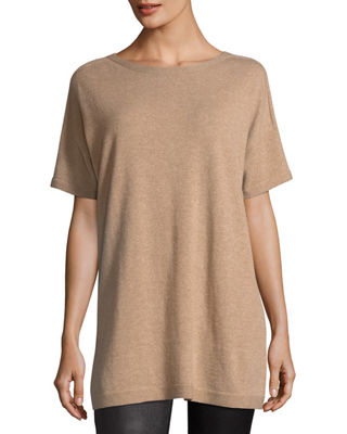 Eileen Fisher Short Sleeve Seamless Italian Cashmere Tunic,