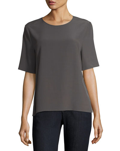 Eileen Fisher Half-Sleeve Crinkle Crepe Top, Plus Size