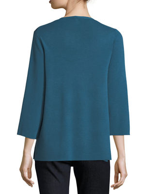 Image 2 of 2: 3/4-Sleeve Merino V-Neck Top