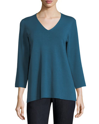 3/4-Sleeve Merino V-Neck Top