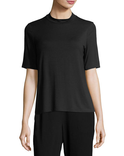 Mock-Neck Lightweight Jersey Top