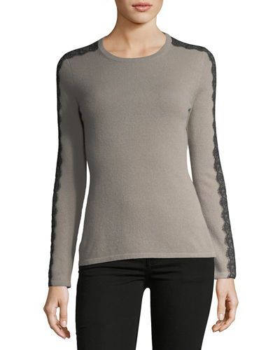 Neiman Marcus Cashmere Collection Lace-Trimmed Crewneck Cashmere