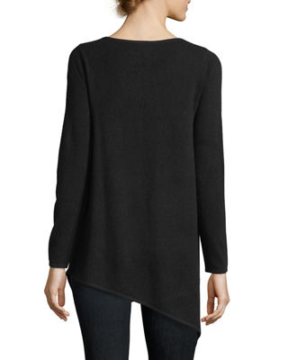 Image 3 of 3: Long Asymmetric Crewneck Cashmere Pullover