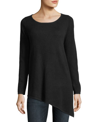 Neiman Marcus Cashmere Collection Long Asymmetric Crewneck
