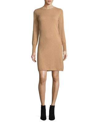 Long-Sleeve Crewneck Cashmere Dress