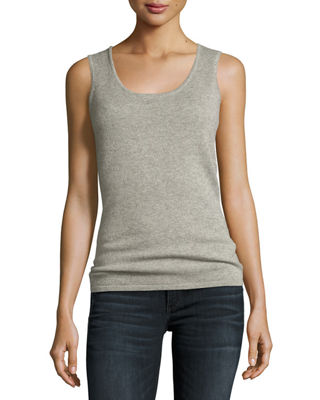 Neiman Marcus Cashmere Collection Cashmere Metallic Scoop-Neck