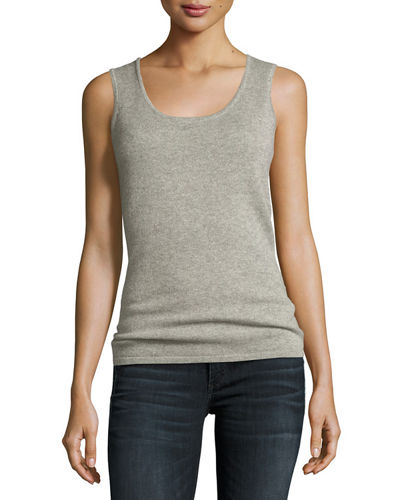 Cashmere Metallic Scoop-Neck Tank