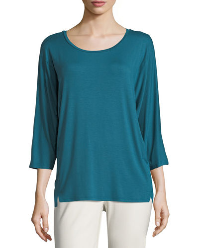 Eileen Fisher 3/4-Sleeve Lightweight Jersey Top and Matching