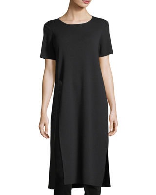 Eileen Fisher Short-Sleeve Washable Wool Crepe Tunic