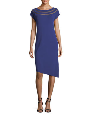 Cap-Sleeve Dress w/ Sheer Insets & Asymmetric Hem