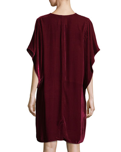 Easy Velvet Kimono-Sleeve Dress