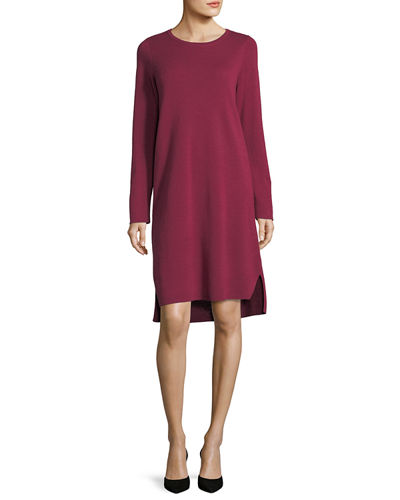 Fine Merino Interlock Knee-Length Dress, Plus Size