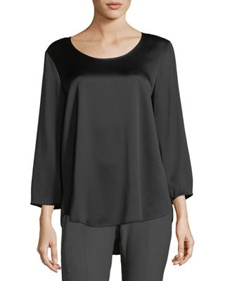 Image 1 of 2: 3/4-Sleeve Silk Satin Blouse