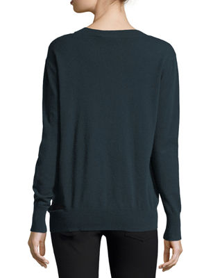 Image 2 of 2: Slash V-Neck Oversized Pullover Sweater