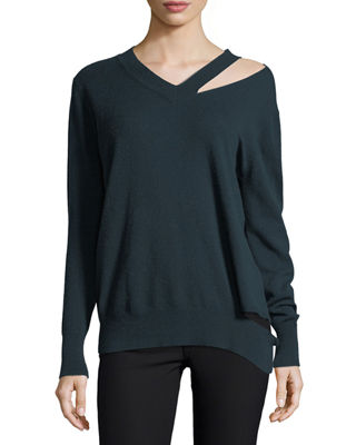 Image 1 of 2: Slash V-Neck Oversized Pullover Sweater