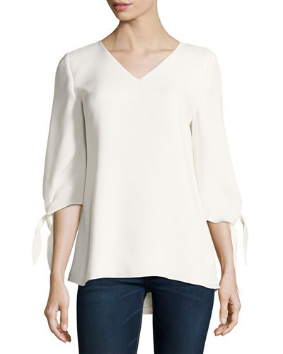 Lafayette 148 New York Kenna Tie-Sleeve V-Neck Silk