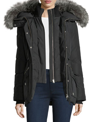 Image 2 of 5: Katryn Hip-Length Down Jacket w/ Fur Trim