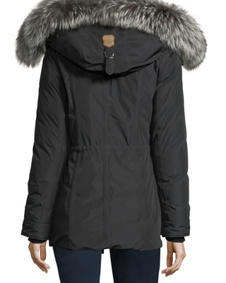 Image 3 of 5: Katryn Hip-Length Down Jacket w/ Fur Trim