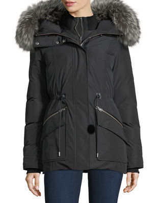 Image 1 of 5: Katryn Hip-Length Down Jacket w/ Fur Trim