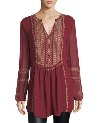 Lauren Long-Sleeve Embroidered Boho Blouse, Plus Size