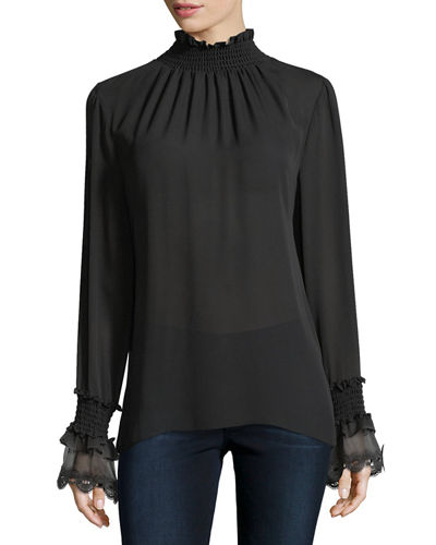 Sasha Long-Sleeve Mock-Neck Silk Blouse