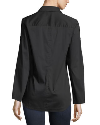 Image 3 of 3: Bianchi Silky Poplin Blouse w/ Button-Sleeve Detail