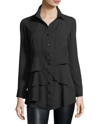 Finley Jenna Tiered Crepe Blouse, Plus Size