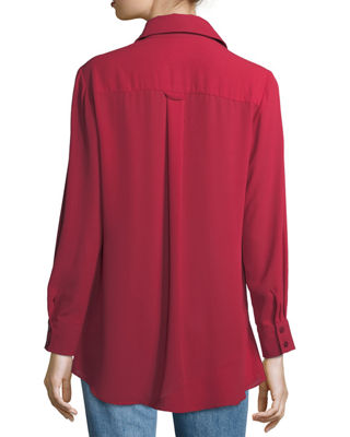 Image 3 of 3: Jenna Tiered Crepe Blouse, Plus Size