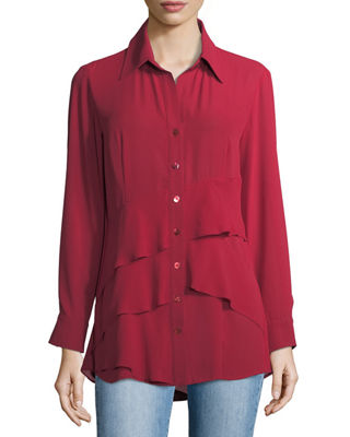 Image 1 of 3: Jenna Tiered Crepe Blouse, Plus Size