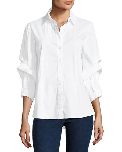 Finley Tess Holiday Dramatic-Sleeve Silky Poplin Shirt