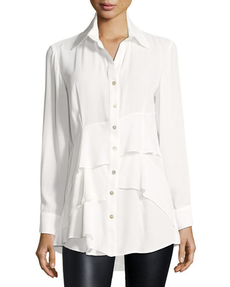 Image 1 of 3: Finley Jenna Tiered Crepe Blouse