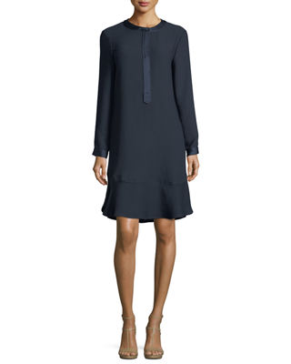 Finley Long Sleeve Satin-Trimmed Jumper Dress