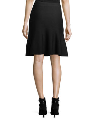 Celise Stretch-Wool Fit-&-Flare Skirt